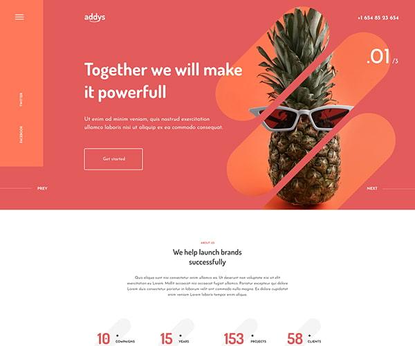 Addy's theme header layout